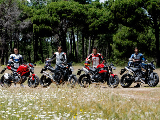 Ducati Monster 1100, MV Agusta Brutale, Triumph Speed Triple y KTM Super Duke